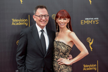 Michael Emerson and wife actress Carrie Preston arrive at the Creative Arts Emmys in Los Angeles, California