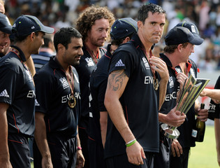The England team including Pietersen leave the field after the presentation ceremony in Bridgetown.