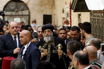 Egyptian Coptic Pope Tawadros II, arrives to  the funeral of Anba Abraham, Coptic Orthodox Metropolitan Archbishop of Jerusalem and the Near East, in Jerusalem's Old City