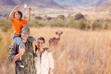 Happy family in a safari