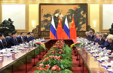 Chinese President Xi attends a meeting with Russian President Putin at the Great Hall of the People in Beijing