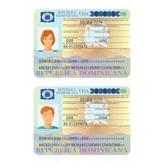 Vector Dominicana international passport visa sticker template in flat style
