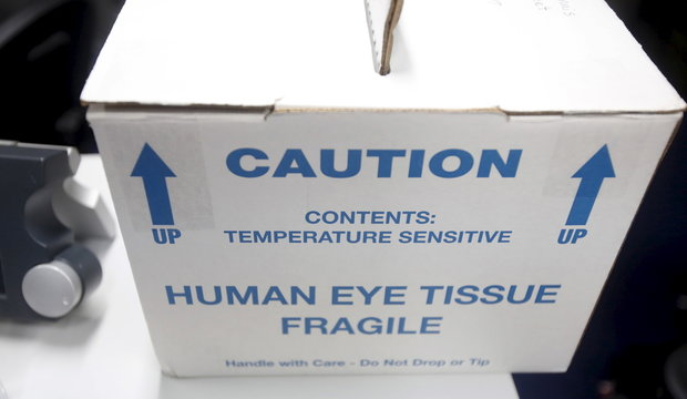 A box of human eye tissue is seen on board the ORBIS International aircraft, housing the world's only Flying Eye Hospital (FEH), at Noi Bao international airport in Hanoi