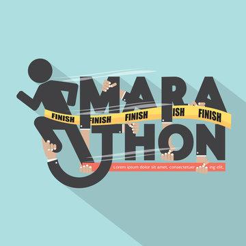 Runner With Marathon Typography Design Vector Illustration