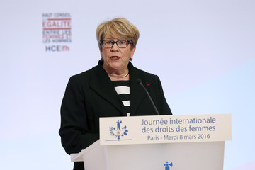 President of the High Council for Equality between Women and Men Danielle Bousquet delivers a speech during the launching of the HCEfh on International Women's Day at the Elysee Palace in Paris