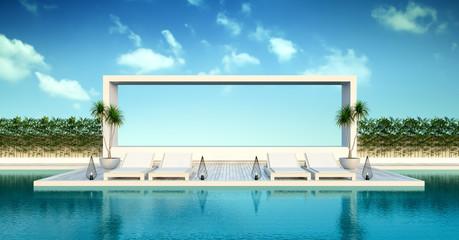 Beach living , sun loungers on Pool terrace  at luxury villa  /3d rendering