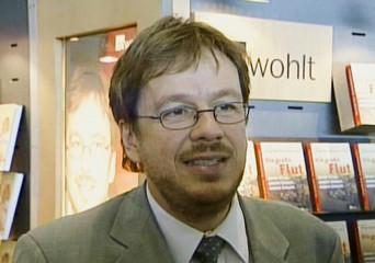 A frame grab taken from video shows TV weather expert Joerg Kachelmann at the Frankfurt bookfair