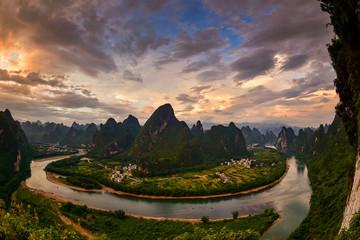 Poster de jardin Guilin Xianggong hill landscape of Guilin, Li River and Karst mountains. Xingping, Yangshuo County, Guangxi Province, China.