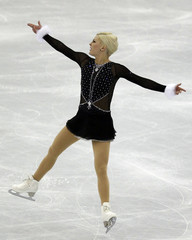 Helgesson of Sweden performs during the women's free skating event at the ISU World Figure Skating Championships in Nice