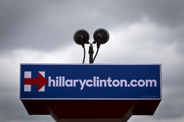"""The podium is pictured with a logo before U.S. Democratic presidential candidate Hillary Clinton's  """"official launch speech"""" at a campaign kick off rally in Franklin D. Roosevelt Four Freedoms Park on Roosevelt Island in New York City"""