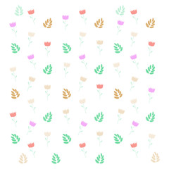 Cute simple seamless pattern with leaves and flowers over white