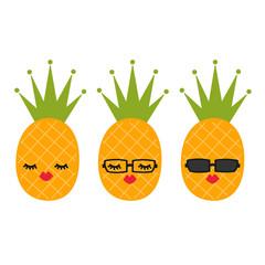 cute cartoon pineapples vector set illustration