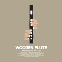 Wooden Flute With Hands Vector Illustration