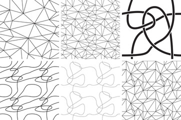 Black and white ornaments. Abstract lines and curves. Seamless patterns