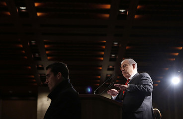 Israel's Prime Minister Netanyahu addresses a meeting in Jerusalem