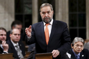 New Democratic Party leader Mulcair speaks in the House of Commons in Ottawa