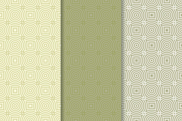 Geometric seamless pattern. Green olive background with circle elements