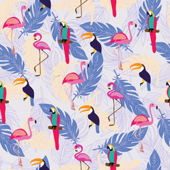 pattern with exotic tropical birds and Feathers.