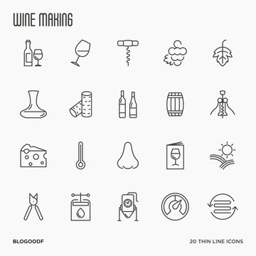 Thin line wine and wine making icons set isolated on white background. Vector illustration..