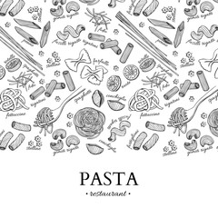Italian pasta restaurant vector vintage illustration. Hand drawn engraved banner.