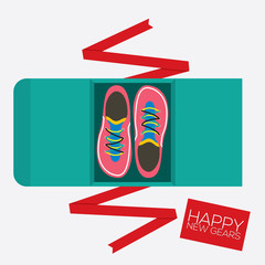 Top View Of Running Shoes Gift Vector Illustration