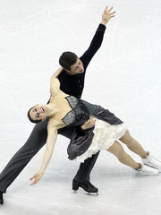 Virtue and Moir of Canada perform during the Ice Dance Short Dance at the ISU World Figure Skating Championships in London, Ontario