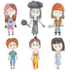 Set of a little girls  in various images