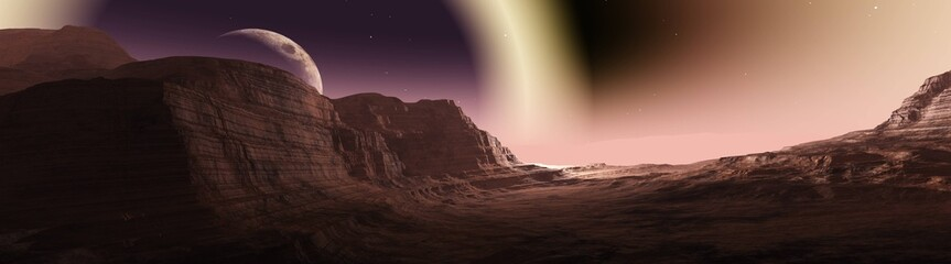 Keuken foto achterwand Chocoladebruin Panorama of space landscape, alien landscape, 3D rendering