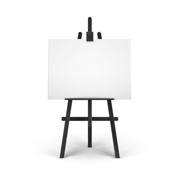 Vector Wooden Black Easel with Mock Up Empty Blank Horizontal Canvas Isolated on Background