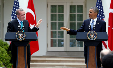 FILE PHOTO -  U.S. President Obama and Turkish Prime Minister Erdogan hold joint news conference at the White House in Washington