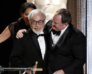 Honoree Japanese film director and animator Hayao Miyazaki receives an Honorary Award at the Academy of Motion Picture Arts and Sciences Governors Awards in Los Angeles