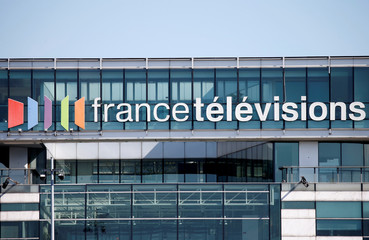Logo of French television network France Television is seen at the Paris headquarters