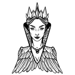 Vector illustration with Evil Queen. For coloring books or print clothes.