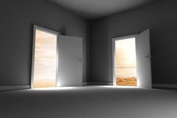 opened door reveal beaches