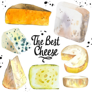 Watercolor illustration with different noble cheeses: camembert, gouda, parmesan, blue, edammer, maasdam, brie, roquefort. Snack bar. Farm dairy products. Fresh organic food.