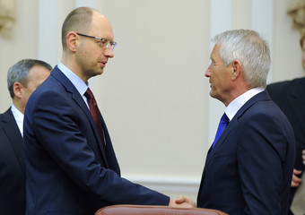 Ukraine's PM Yatseniuk and Secretary-General of the Council of Europe Jagland attend a meeting in Kiev
