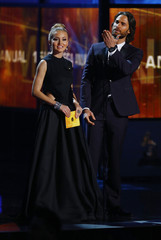 Boyer and Rulli present the award for album of the year at the15th Annual Latin Grammy Awards in Las Vegas