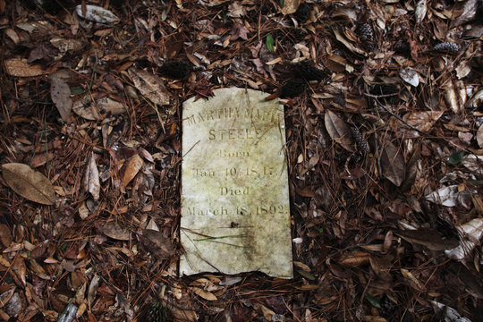 The gravestone of Martha Maria Steele is framed in fallen leaves and brush at the slave cemetery at Friendfield Plantation in Georgetown