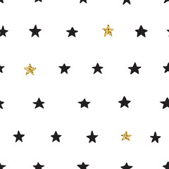 Ink and gold hand drawn doodle vector seamless star pattern.