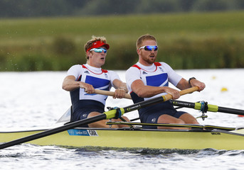 George Nash and William Satch (R) of Britain compete in the Men's Pair Final event during the London 2012 Olympic Games at Eton Dorney