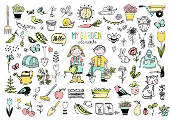 Big collection of garden elements in color, isolated hand drawn vector illustration