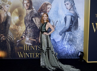 """Cast members Jessica Chastain poses during the premiere of the film """"The Huntsman: Winter's War"""" in Los Angeles"""