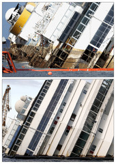 """A combination of pictures shows the capsized cruise liner Costa Concordia before and after the start of the """"parbuckling"""" operation (top) outside Giglio harbour"""