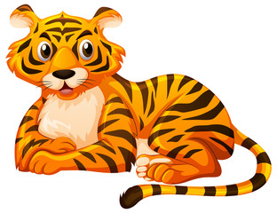 Cute tiger sitting on white background