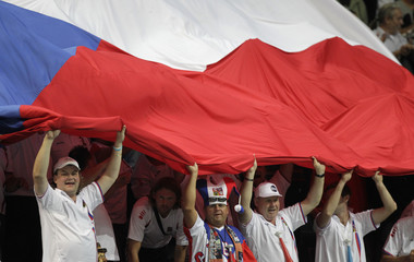 Czech Republic's fans cheer for their team during their Davis Cup semi-final tennis match against Argentina in Prague
