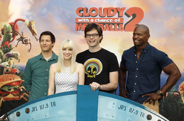 """Voice talents from the new film """"Cloudy with a Chance of Meatballs 2"""" pose during a photo call in Beverly Hils"""