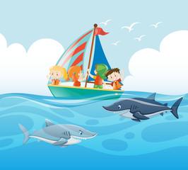 Kids sailing and sharks swimming