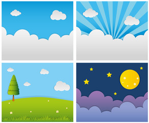Four different background scenes