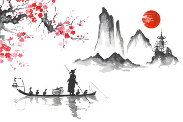 Japan Traditional japanese painting Sumi-e art Man with boat
