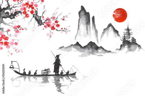 Wall mural Japan Traditional japanese painting Sumi-e art Man with boat